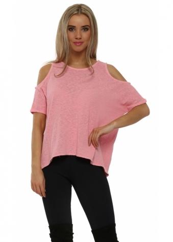 Rebecca Cold Shoulder Slub Knit Top In Coral Haze