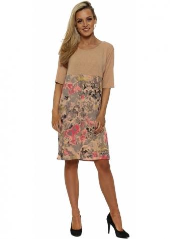 Fizz Fragmented Floral Tunic Dress In Sherbert
