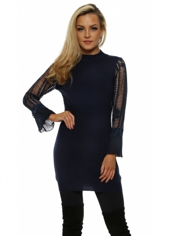 Navy Blue Crochet Sleeve Long Jumper