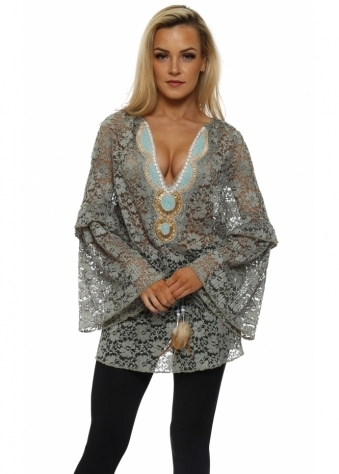 Dentelle Khaki Floral Lace Embellished Tunic Top