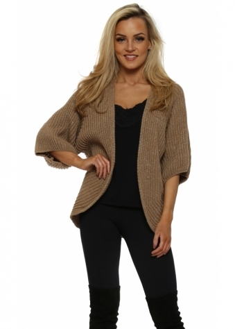 Caramel Lurex Cocoon Shruggy Cardigan