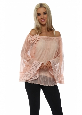 Grande Peach Mesh Diamonte Flower Top