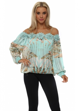 Fleur Aqua Tropical Paisley Off The Shoulder Top