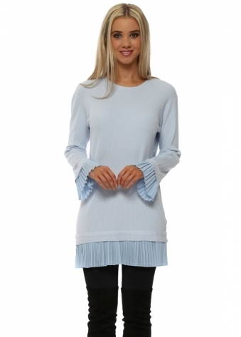 Baby Blue Pleated Chiffon Hem Tunic Jumper
