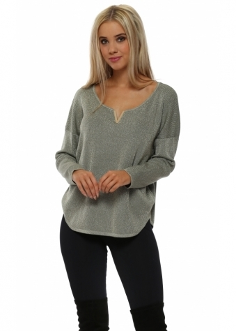 Green Lurex Gold V Jumper