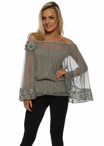 Grande Khaki Mesh Diamonte Flower Top