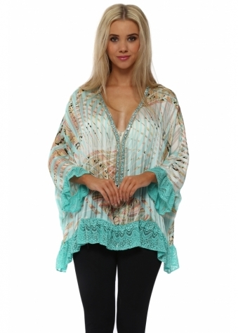 Volant Aqua Tropical Paisley Print Diamonte Top
