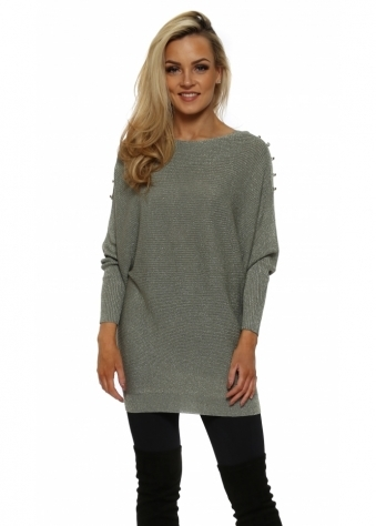 Green Lurex Studded Shoulder Jumper