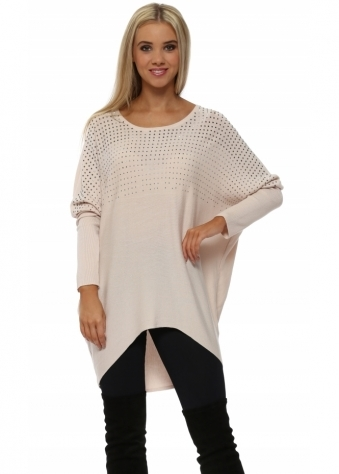 Pewter Studded Oversized Baby Pink Jumper