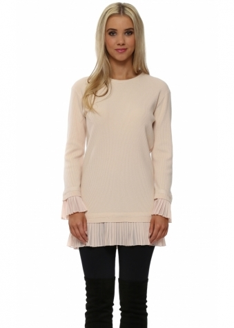 Baby Pink Pleated Chiffon Hem Tunic Jumper