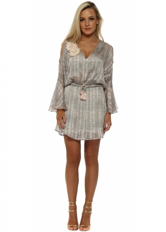 Victoria Taupe Print Cold Shoulder Mini Dress