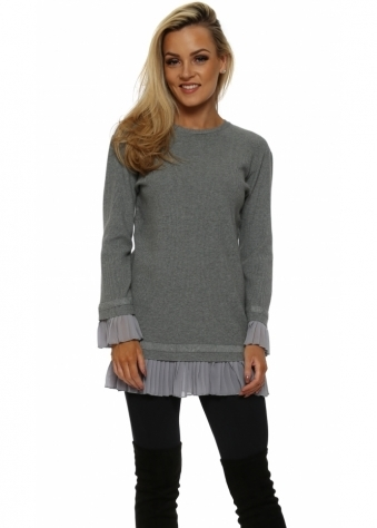 Grey Pleated Chiffon Hem Tunic Jumper