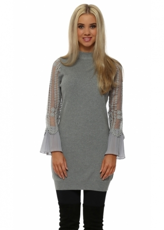Grey Crochet Sleeve Long Jumper