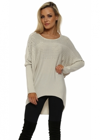 Pewter Studded Oversized Beige Jumper