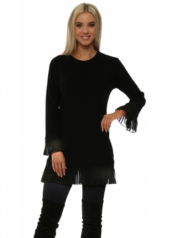 Black Pleated Chiffon Hem Tunic Jumper