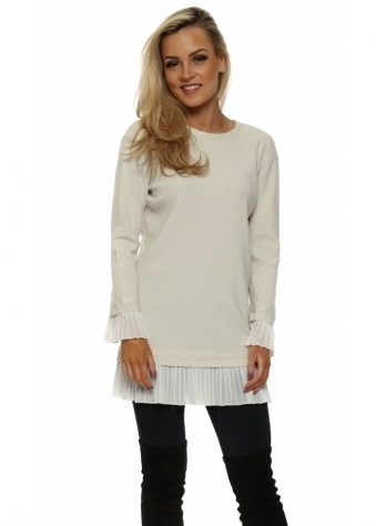 Beige Pleated Chiffon Hem Tunic Jumper