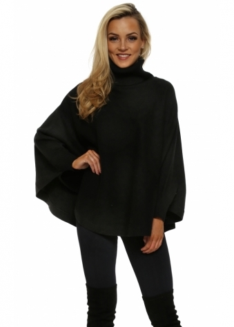 Black Polo Curved Poncho Jumper