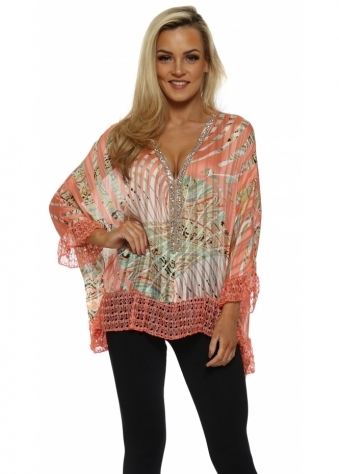 Volant Coral Tropical Paisley Print Diamonte Top