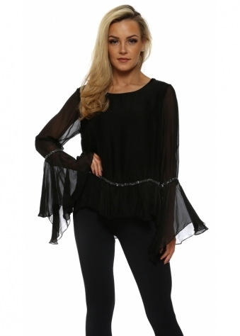 Black Silk Sequin Trim Bell Sleeve Top