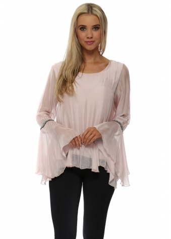 Baby Pink Silk Sequin Trim Bell Sleeve Top