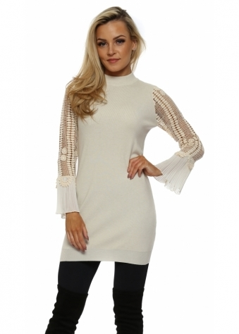 Beige Crochet Sleeve Long Jumper