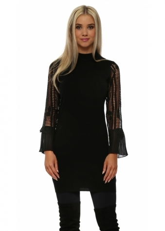 Black Crochet Sleeve Long Jumper