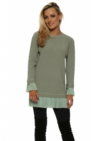 Sage Green Pleated Chiffon Hem Tunic Jumper