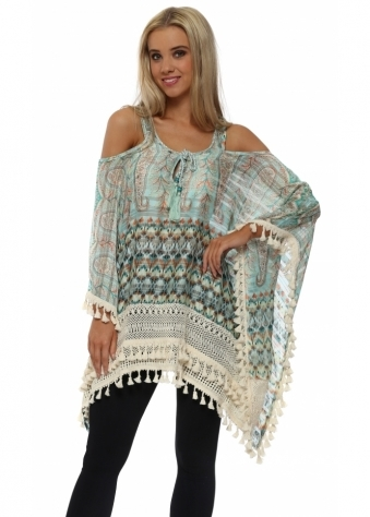 Frenji Aqua Boho Print Cold Shoulder Kaftan Top
