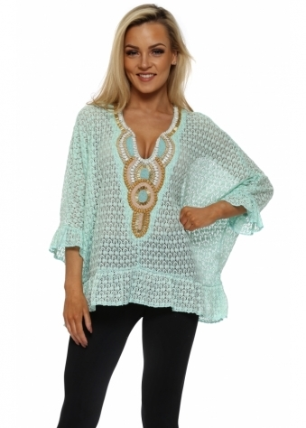 Volant Aqua Crochet Lace Beaded Top