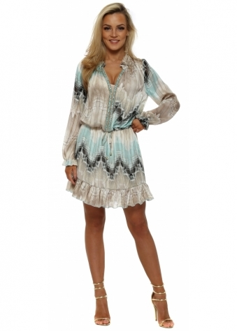 Perroquet Aqua & Grey Chiffon Mini Dress