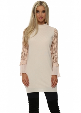 Baby Pink Crochet Sleeve Long Jumper