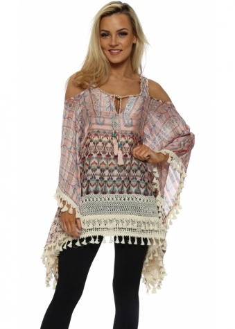 Frenji Pink Boho Paisley Print Cold Shoulder Kaftan Top
