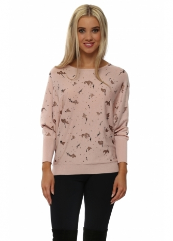 Rose Gold Glitter Leaf & Twig Jumper In Pink