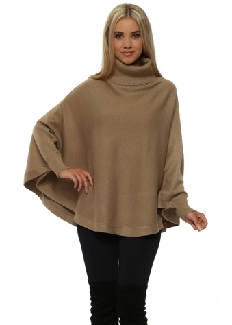 Caramel Polo Curved Poncho Jumper