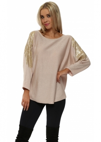 Gold Sequinned Wings Baby Pink Jumper