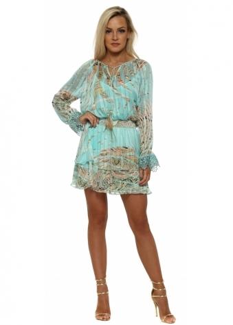 Tahel Aqua Tropical Paisley Print Mini Dress