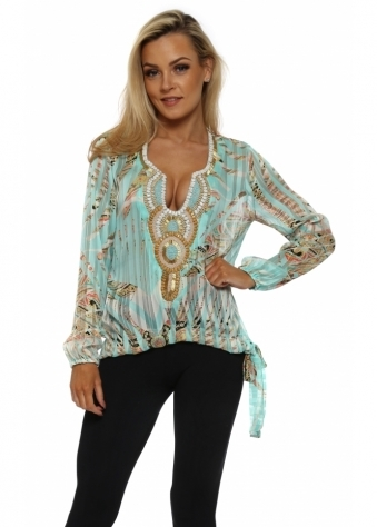 Noeud Aqua Tropical Paisley Tie Side Top