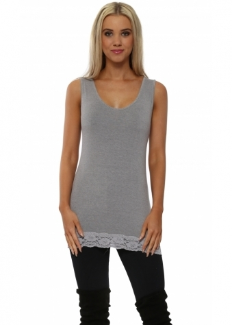 Suzee Lace Border Vest In Gull