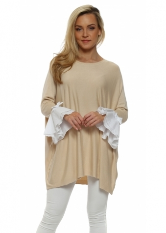 Beige Contrast Bow Bell Cuff Jumper