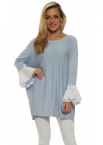 Baby Blue Contrast Bow Bell Cuff Jumper