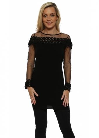 Black Spiral Lace Mesh Sleeve Long Jumper