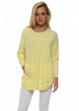 Yellow Sparkling Studded Sleeve Pockets Jumper