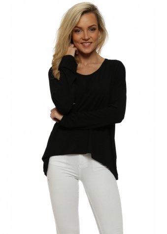 Black Karma Long Sleeves Slouch Top