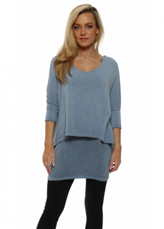 Double Layered Blue Tunic Top