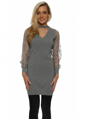 Grey Mesh Spot Sleeve Long Choker Jumper