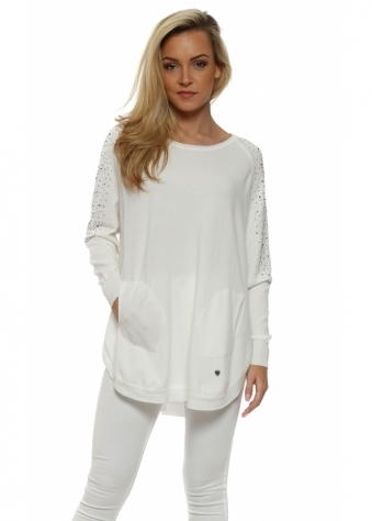 White Sparkling Studded Sleeve Pockets Jumper