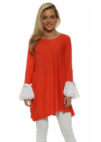 Coral Contrast Bow Bell Cuff Jumper