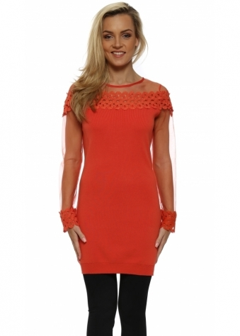 Coral Spiral Lace Mesh Sleeve Long Jumper