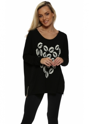 Love Heart Kissy Lips Black Zip Sweater