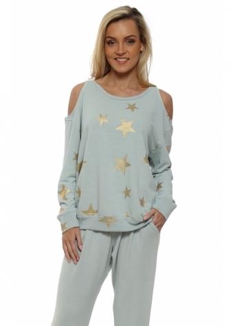 Belle Julep Grey Gold Foil Star Cold Shoulder Sweater